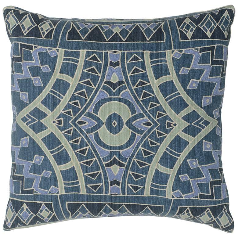 "Tegan Multi-Color Dark Marine 18"" Square Decorative Pillow"