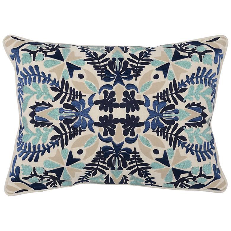 "Luca Multi-Color Dark Marine 20"" x 14"" Decorative Pillow"