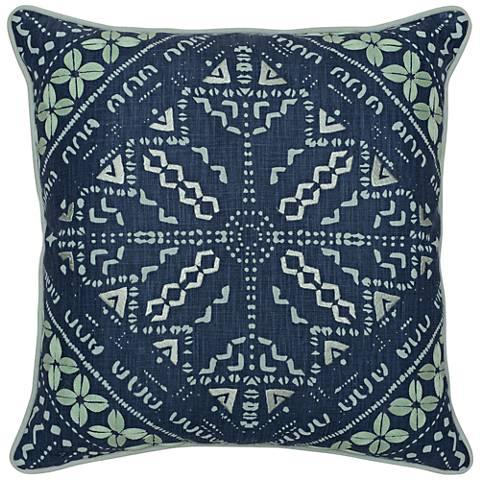"Mingo Dark Marine and Tidal 22"" Square Decorative Pillow"