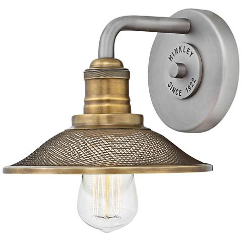 "Hinkley Rigby 8 3/4"" High Antique Nickel Wall Sconce"