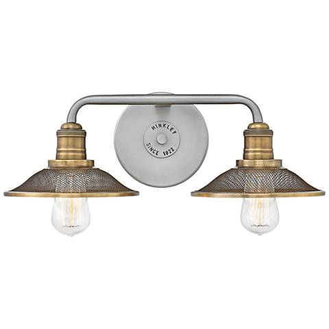 """Hinkley Rigby 8 3/4"""" High Antique Nickel 2-Light Wall Sconce"""