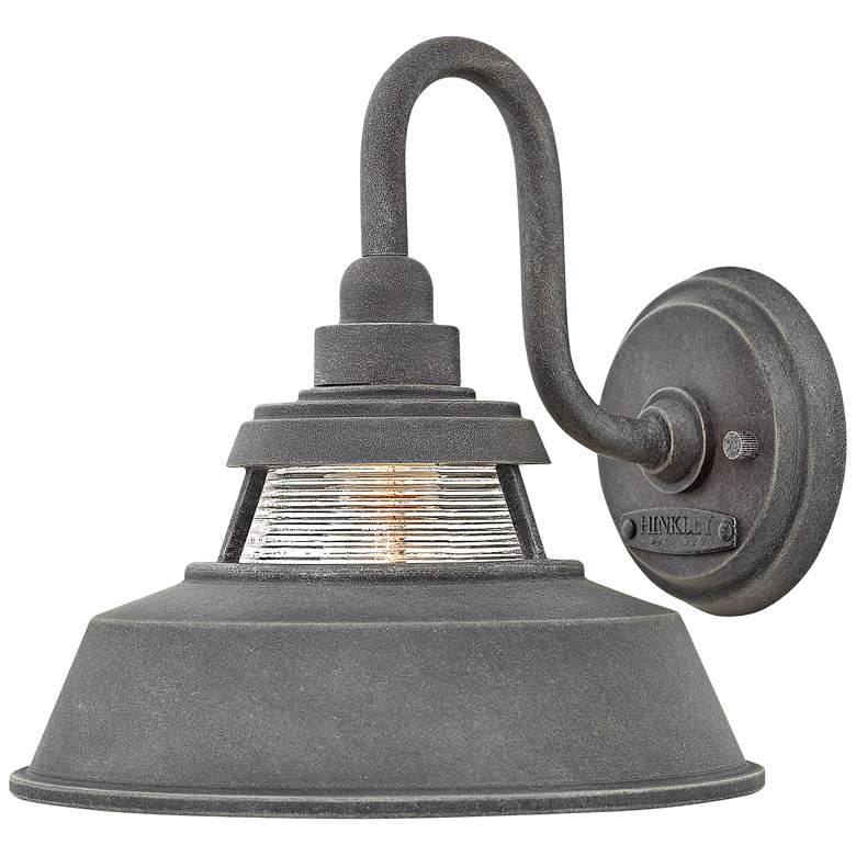 """Hinkley Troyer 10"""" High Aged Zinc Outdoor Wall Light"""