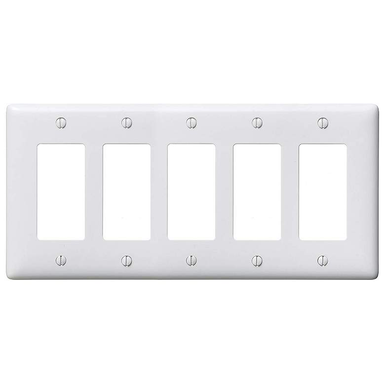 Leviton Decora White Standard Size 5-Gang Wall Plate