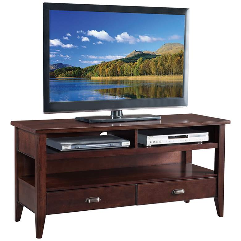 "Laurent 50"" Wide Chocolate Cherry 2-Drawer Wood TV Stand"