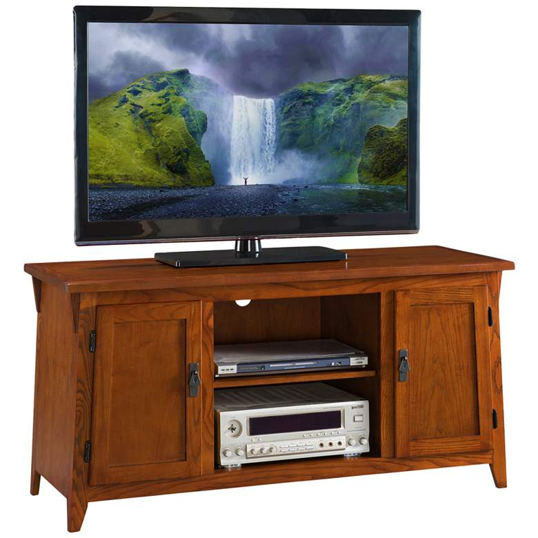 """Hailley 50"""" Wide Russet Oak 2-Door TV Stand Console by Leick"""