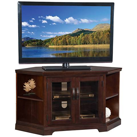 Leick Traynor Chocolate Cherry 2 Door Corner Tv Stand 38a08