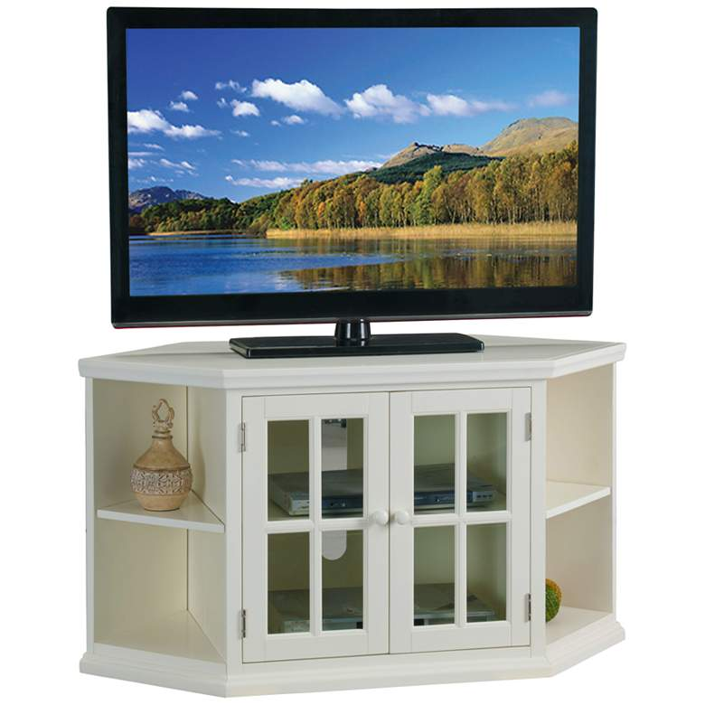 "Shelbie 46"" Wide Cottage White 2-Door Corner TV Stand"