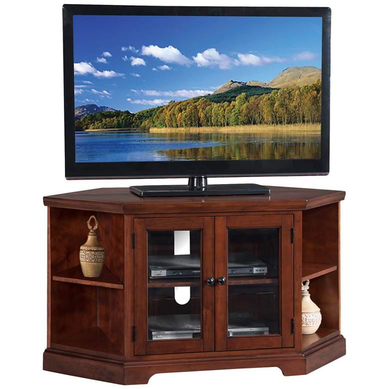 Treble Rich 46 Wide Cherry Wood 2 Door Corner Tv Stand 38a11
