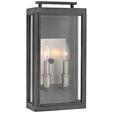 "Hinkley Sutcliffe 17"" High Aged Zinc Outdoor Wall Light"