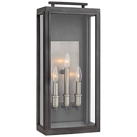 "Hinkley Sutcliffe 22"" High Aged Zinc Outdoor Wall Light"