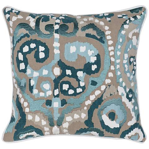"Mina Multi-Color Mallard 22"" Square Decorative Pillow"
