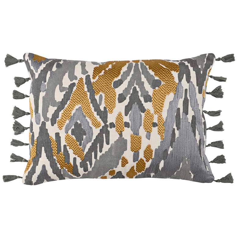 "Onley Graphite and Ochre 20"" x 14"" Decorative Pillow"