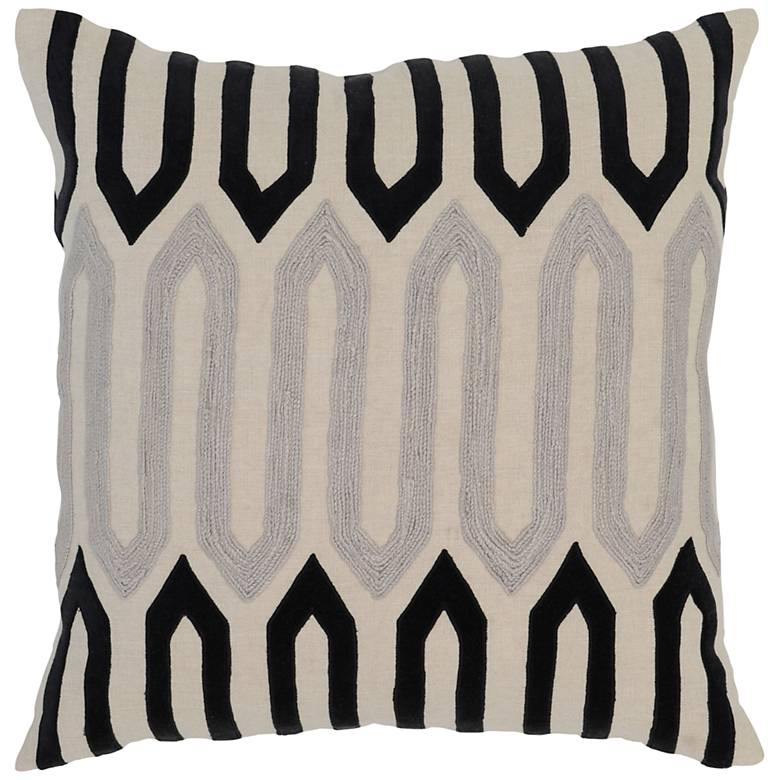 """Greer Natural and Onyx 22"""" Square Decorative Pillow"""