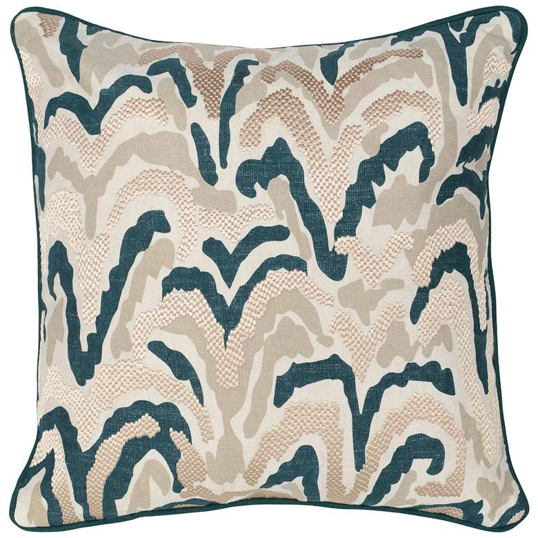 "Paige Natural and Mallard 22"" Square Decorative Pillow"