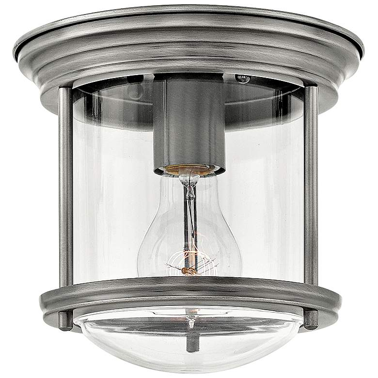 """Hinkley Hadley 7 3/4"""" Wide Antique Nickel Ceiling Light"""