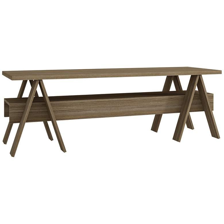 "Messina 53 1/4"" Wide Matte Oak Wood 1-Shelf TV Stand"