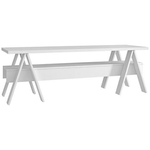 Messina White Matte Wood 1-Shelf TV Stand