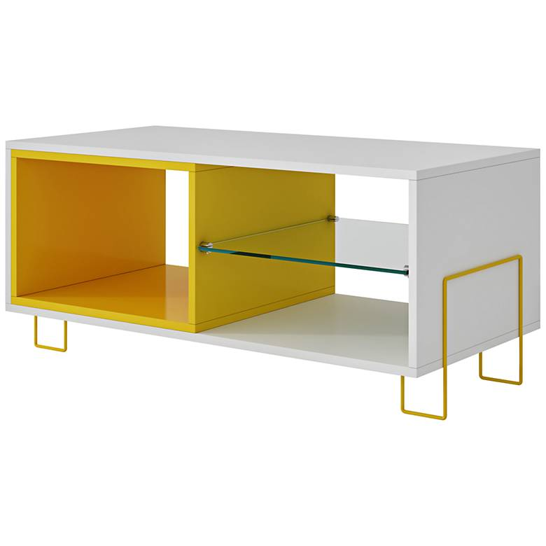 """Boden 35 1/2"""" Wide White and Yellow Wood Modern TV Stand"""