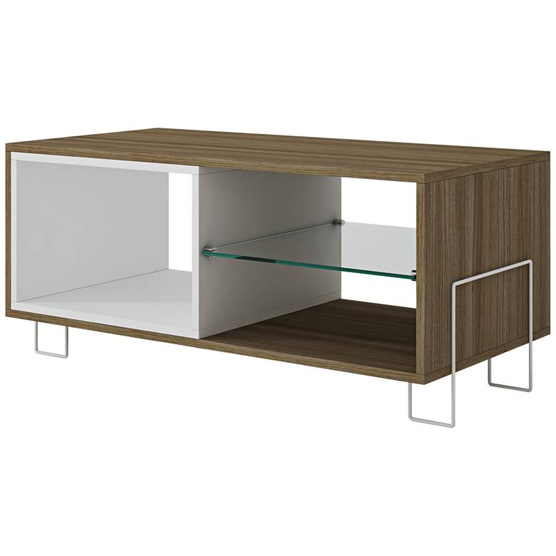 "Boden 35 1/2"" Wide Oak and White Wood Modern TV Stand"