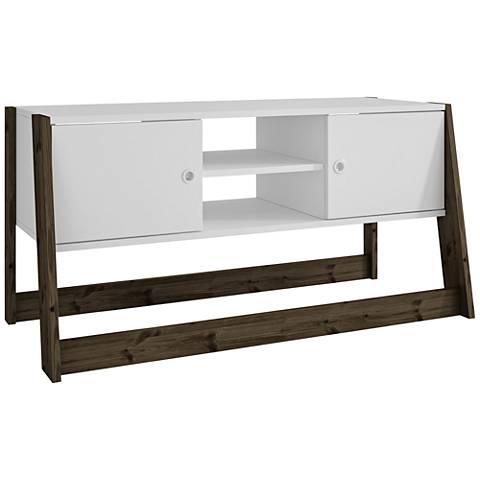 Salvador White and Dark Oak Wood 2-Door TV Stand