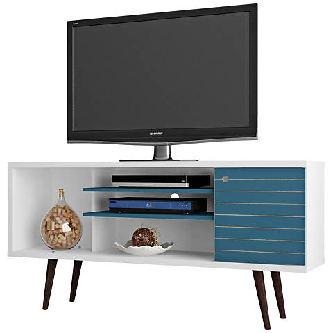 Liberty White and Aqua Blue Wood 1-Door TV Stand