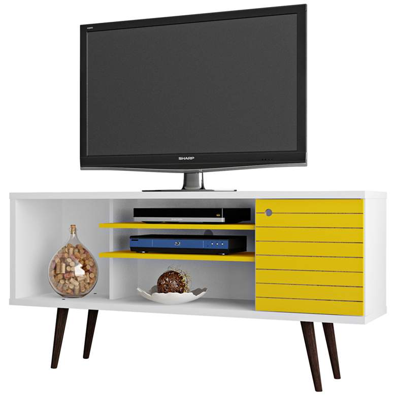 "Liberty 53 1/4"" White and Yellow 1-Door TV Stand"
