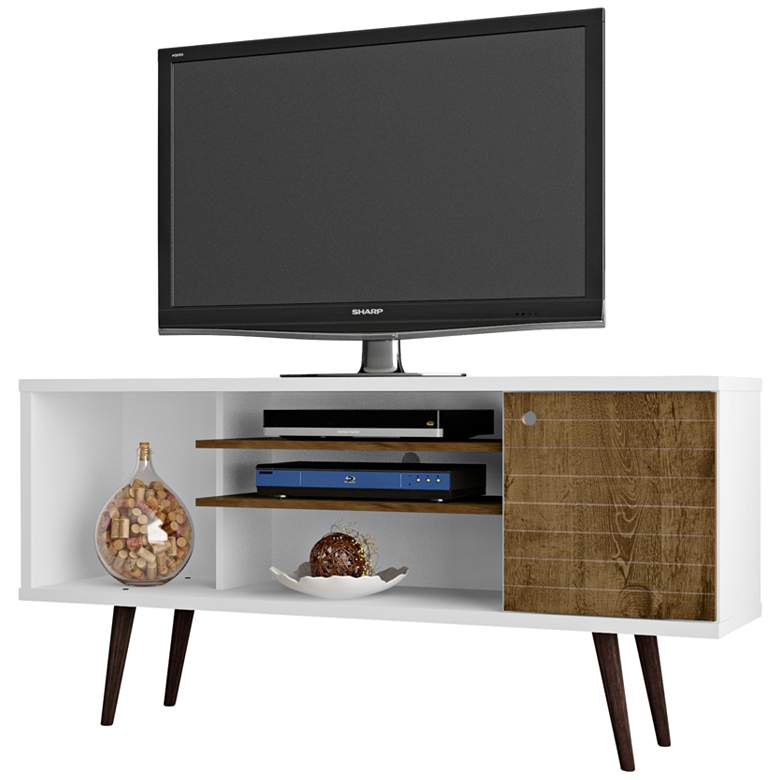 "Liberty 53 1/4"" White and Rustic Brown Wood 1-Door TV Stand"