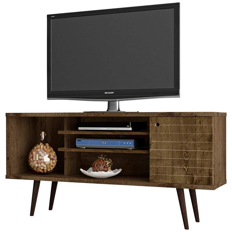 """Liberty 53 1/4"""" Wide Rustic Wood 1-Door Modern TV Stand"""