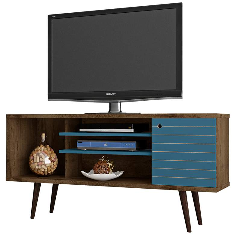 "Liberty 53 1/4"" Wide Wood and Aqua Blue Modern TV Stand"