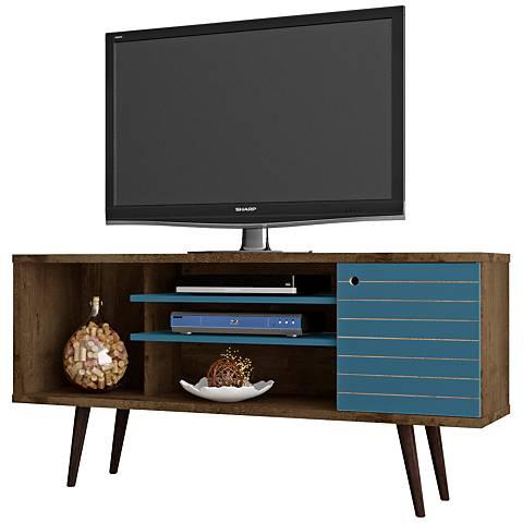 Liberty Rustic Brown and Aqua Blue Wood 1-Door TV Stand