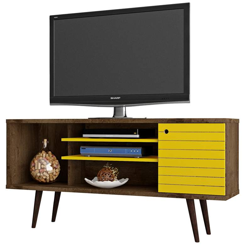 """Liberty 53 1/4"""" Yellow and Rustic Brown Wood 1-Door TV Stand"""