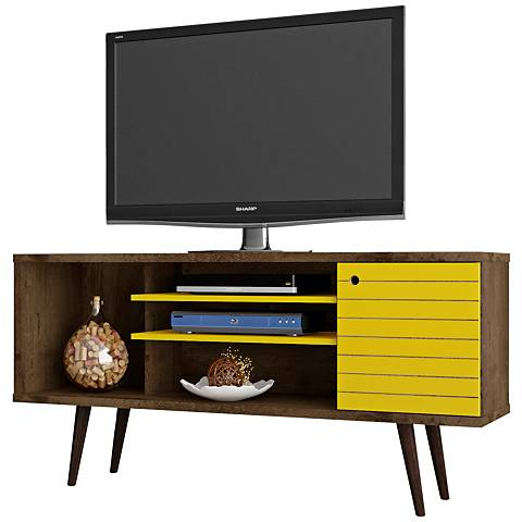 Liberty Rustic Brown and Yellow Wood 1-Door TV Stand