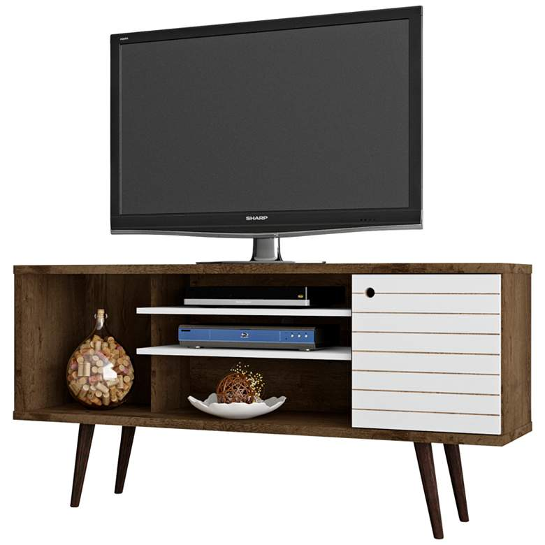 "Liberty 53 1/4"" White and Brown Wood 1-Door TV Stand"