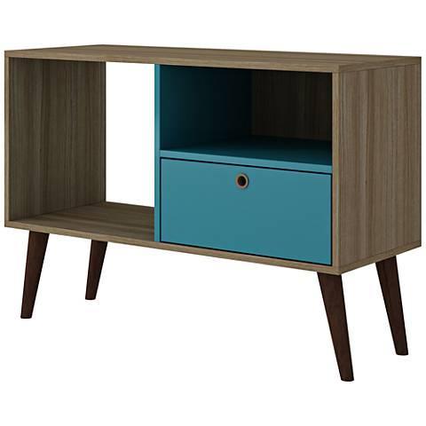 Bromma Oak and Aqua Wood 1-Drawer TV Stand
