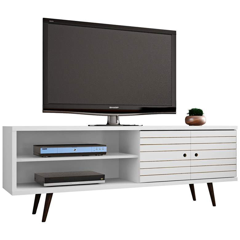"Liberty 63"" Wide White Gloss Wood Modern TV Stand"