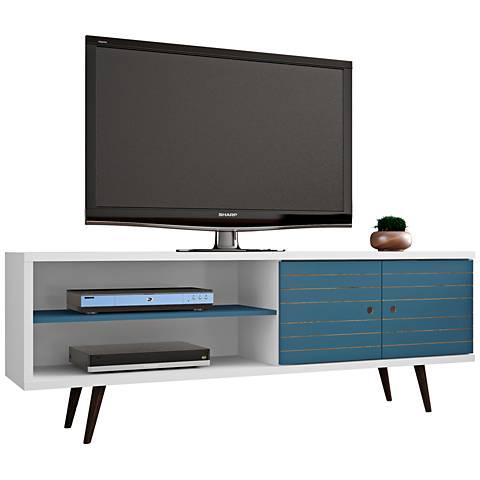 Liberty White and Aqua Blue Wood 2-Door TV Stand