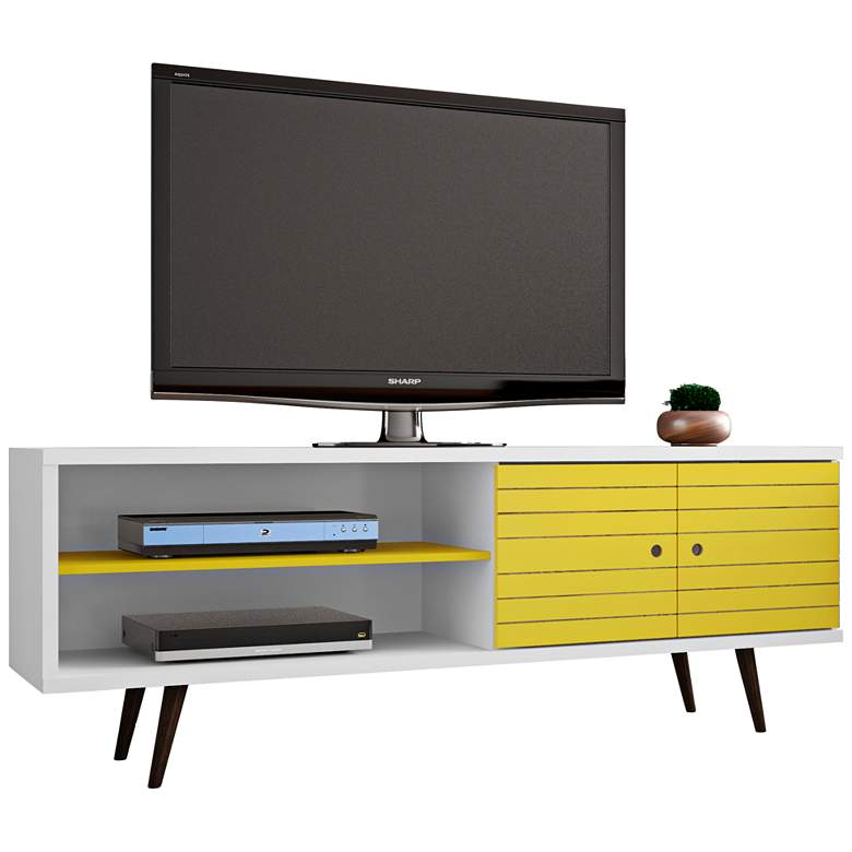 """Liberty 63"""" Wide White and Yellow Modern TV Stand"""