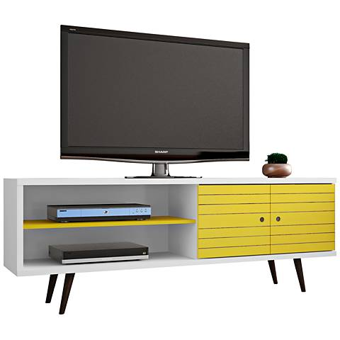 Liberty White and Yellow Wood 2-Door TV Stand