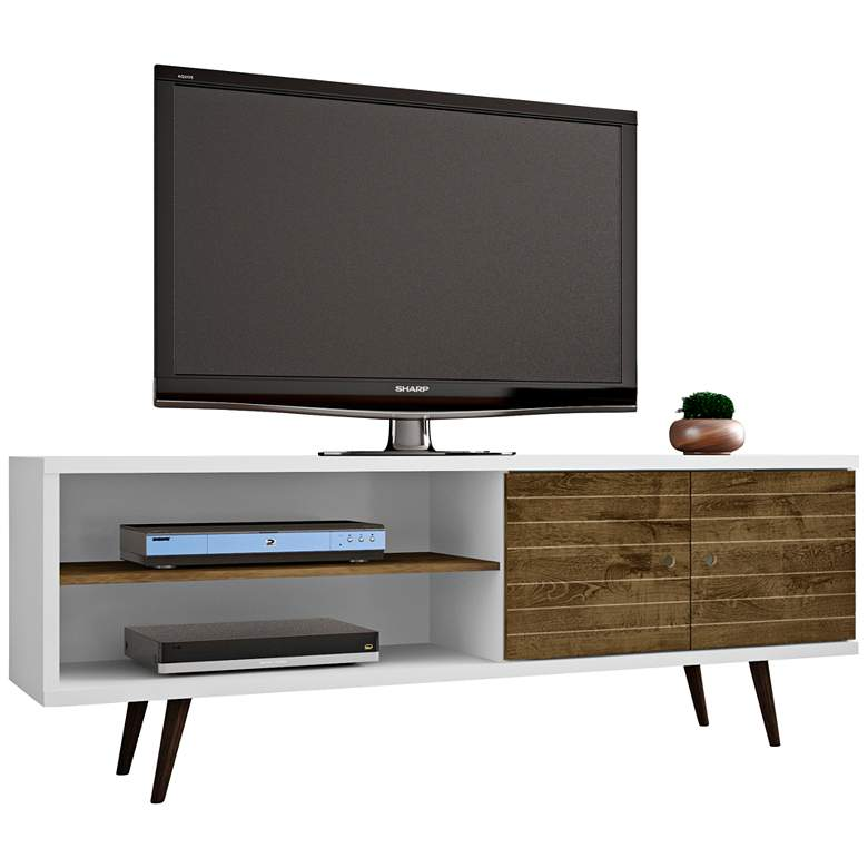 """Liberty 63"""" Wide White and Rustic Brown Modern TV Stand"""