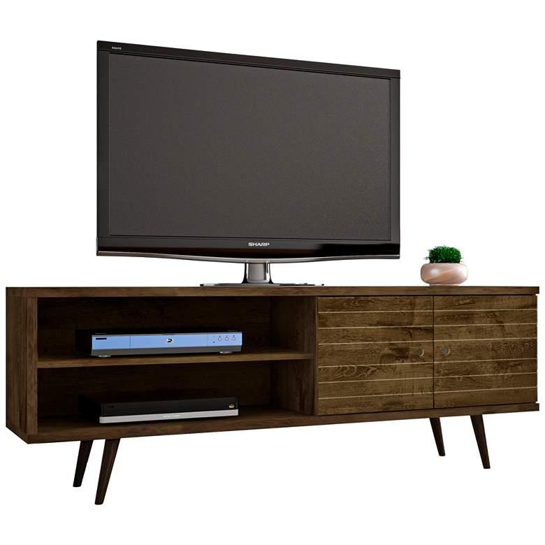 """Liberty 63"""" Wide Rustic Wood 2-Door Modern TV Stand"""