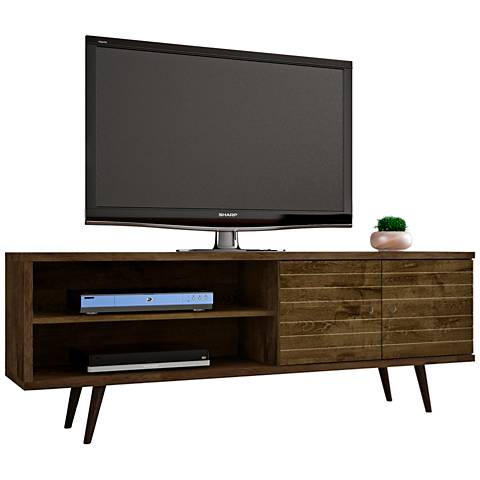 Liberty Rustic Brown Matte Wood 2-Door TV Stand