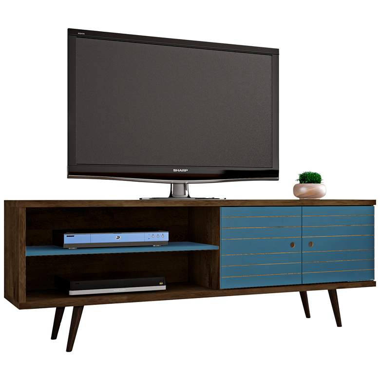 "Liberty 63"" Wide Aqua Blue and Wood 2-Door Modern TV Stand"