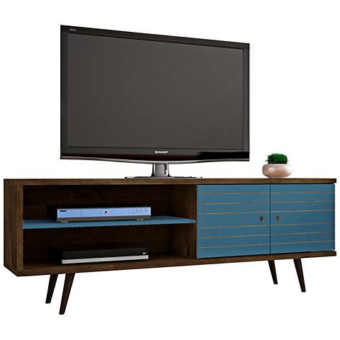 Liberty Rustic Brown and Aqua Blue Wood 2-Door TV Stand