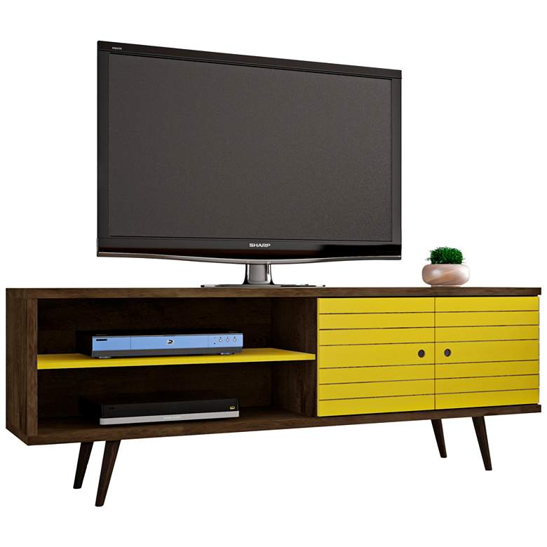"Liberty 63"" Wide Yellow and Wood 2-Door Modern TV Stand"
