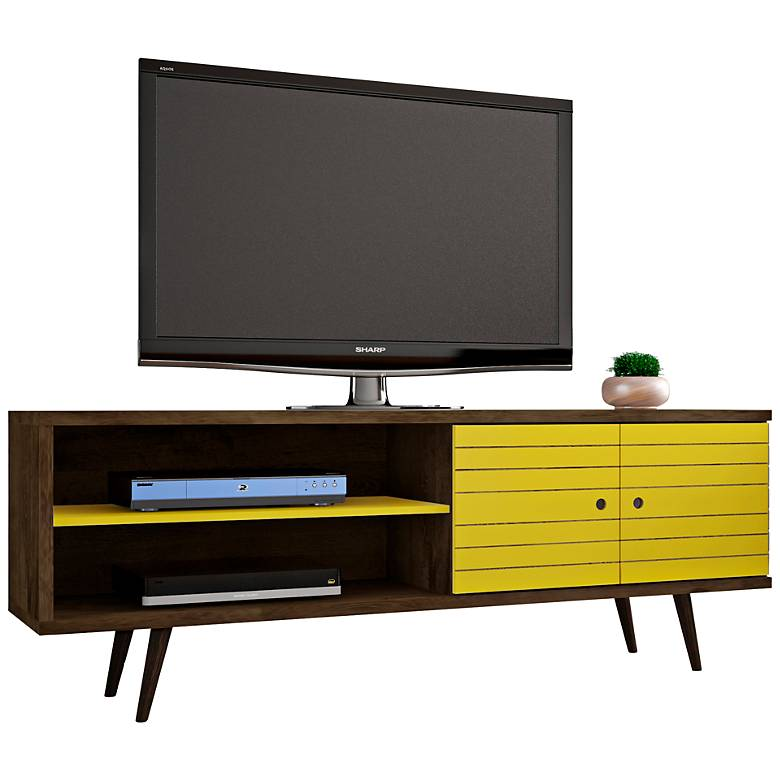 """Liberty 63"""" Wide Yellow and Wood 2-Door Modern TV Stand"""
