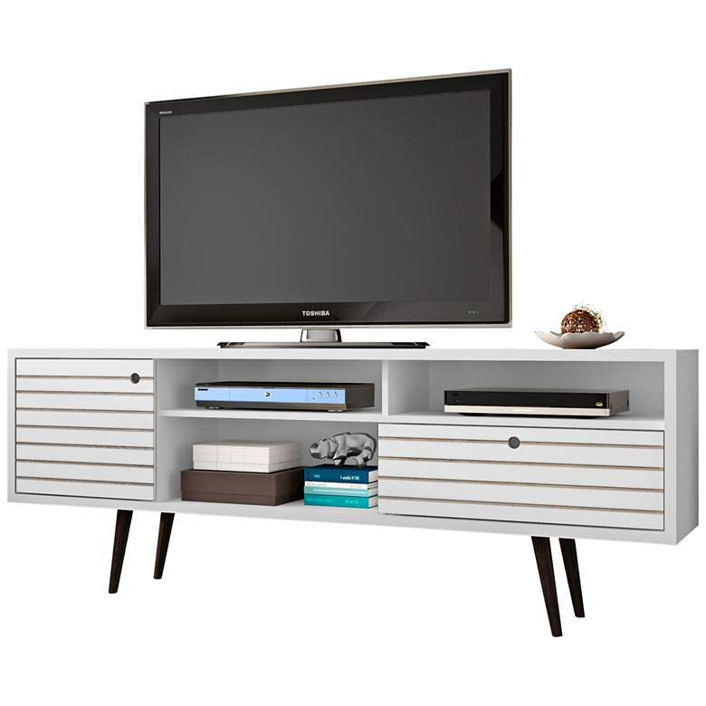 """Liberty 70 3/4"""" Wide White Gloss Wood 1-Drawer TV Stand"""
