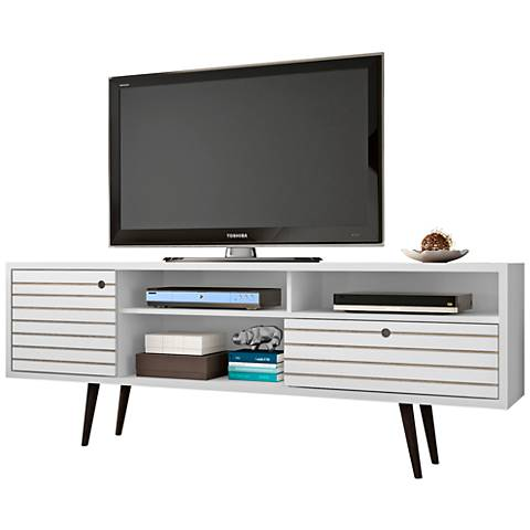 Liberty White Gloss Wood 1-Drawer TV Stand