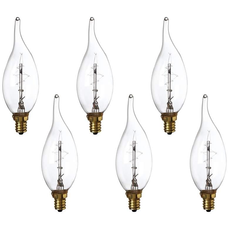 Clear Edison Style Flame Tip 60 Watt Candelabra Bulb 6-Pack