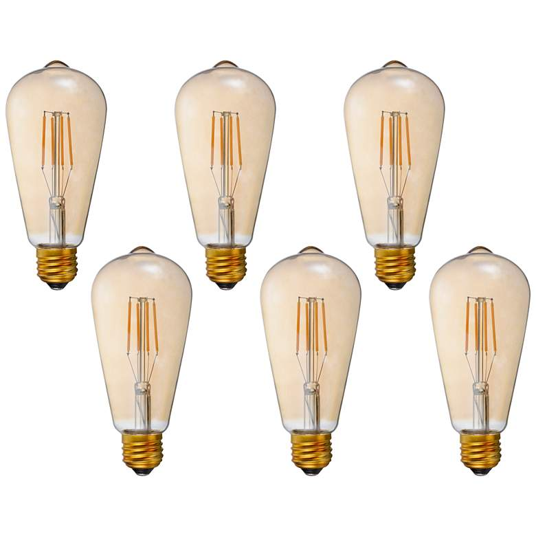 40W Equivalent Amber 4W LED Dimmable Standard Edison 6-Pack