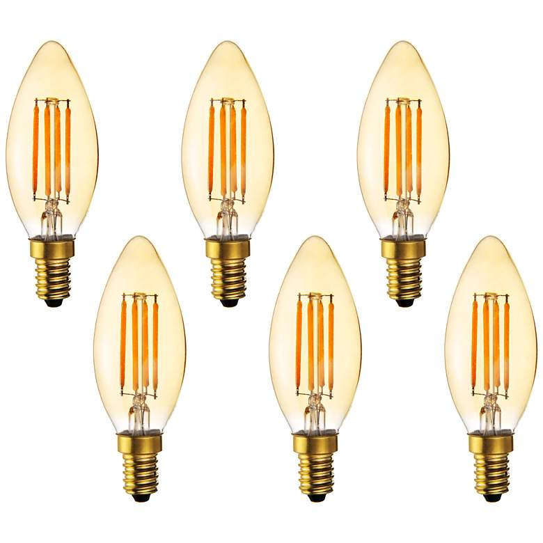 40W Equivalent Amber 4W LED Dimmable Candelabra 6-Pack